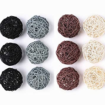 Fine Byher 12 Pack Large Wicker Rattan Balls Decorative Balls For Bowls Vase Filler Coffee Table Decor Wedding Party Decoration Gmtry Best Dining Table And Chair Ideas Images Gmtryco
