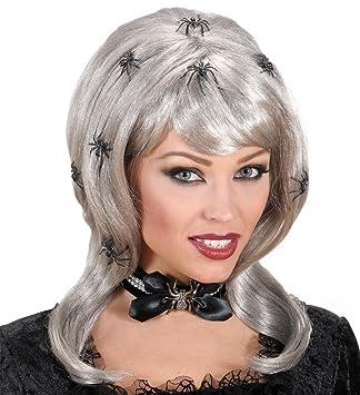 shoperama Spider Lady Pelo Largo Halloween Mujer Peluca Gris con arañas Bruja Pony mittelscheitel