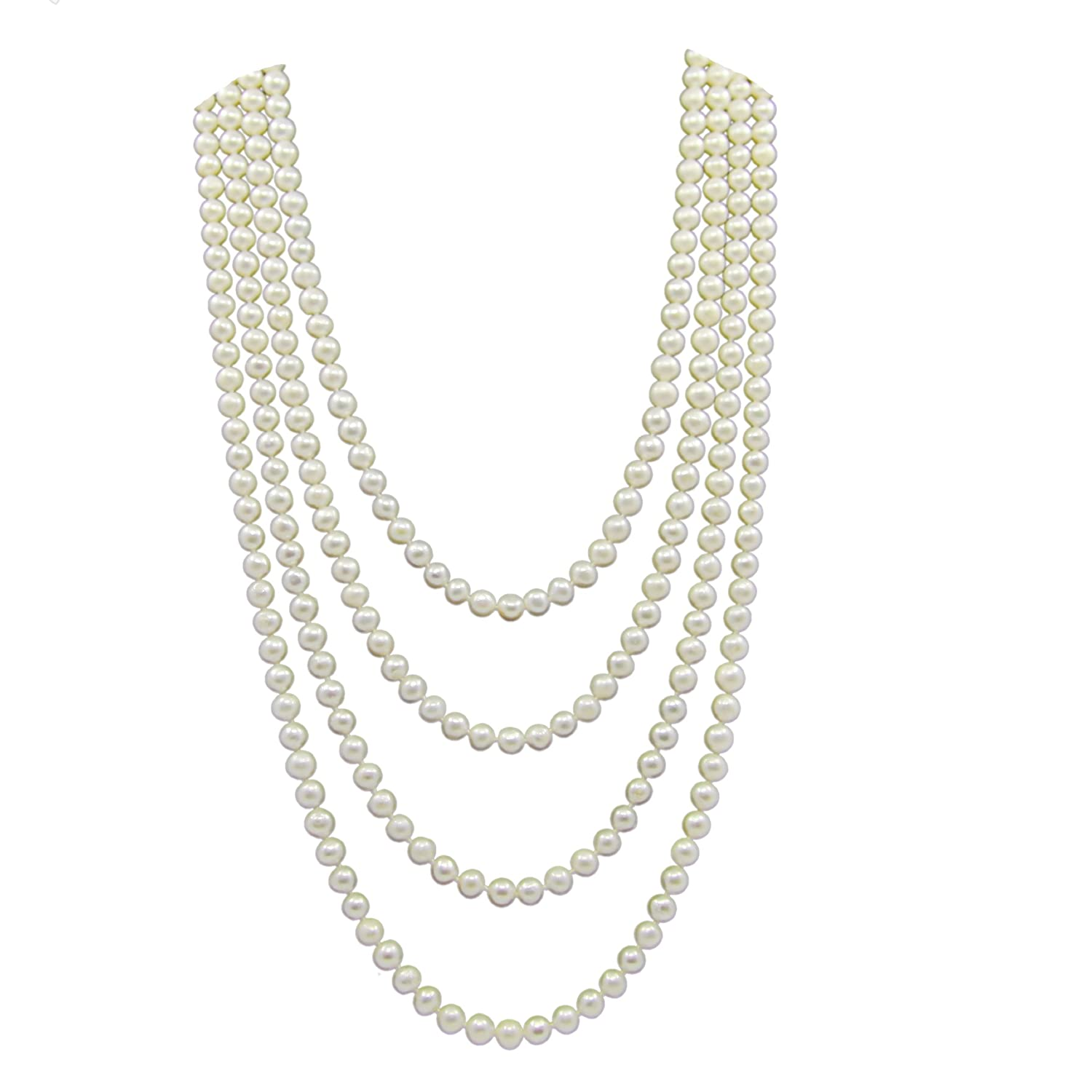 Amazon: 6575 Mm Freshwater Cultured Pearl Endless Necklace 100
