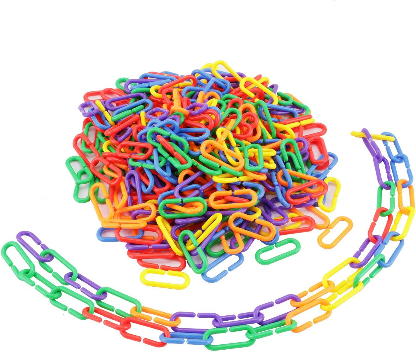 Fashionclubs Plastic C-Clips Hooks Chain Links C-Links Sugar Glider Small Rat Parrot Cage Toys, Children's Learning Toys 400 Assorted Color Links