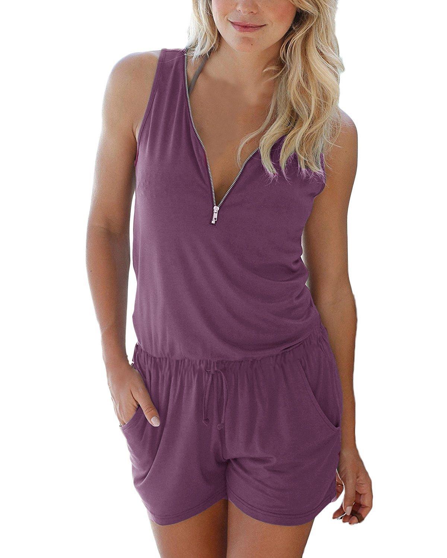 Yidarton Women Short Romper Summer Sexy Sleeveless Zipper Cute V Neck Playsuit One Piece Jumpsuit Jumper Purple S