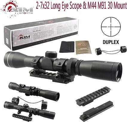 FREE Mounts US Long Eye Scope Relief Pistol Scout Riflescopes 2-7x32