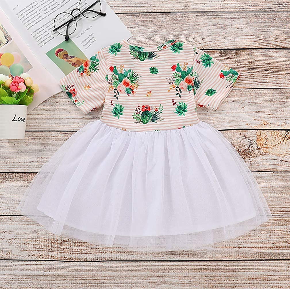 SUPEYA Baby Girls Floral Stripe Print Dress Party Short Sleeve Lace Tulle Tutu Dress