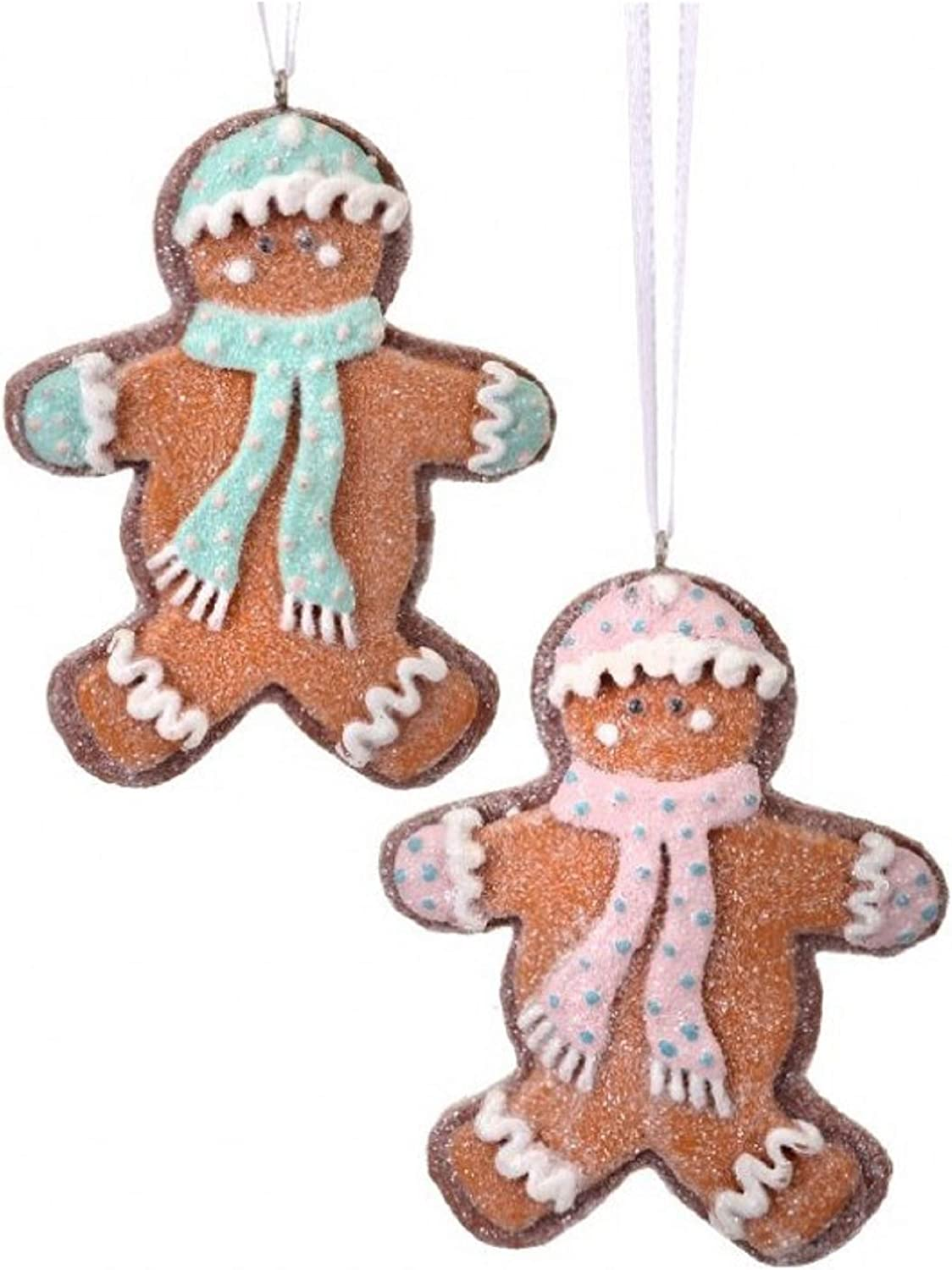 Regency International MTX61134 Resin Frosted Gingerbread Ornaments 2 Assorted 4 Inches, Pink and Blue