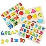 3ピース 木製数字 パズル 形状認知 ABC 26 英語 アルファベッ 木のおもちゃ 積み木 数学力アップ 数字学習 知育玩具 教育おもちゃ 型合わせ はめこみ ベビー 赤ちゃん 幼児 男の子 女の子 誕生日 クリスマス プレゼント 贈り物 入園お祝い