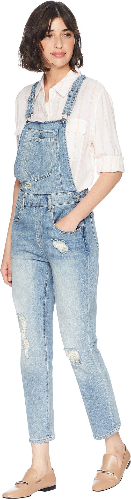 Juicy Couture Women's High-Waisted Cropped Denim Overall Big Sur Wash 2