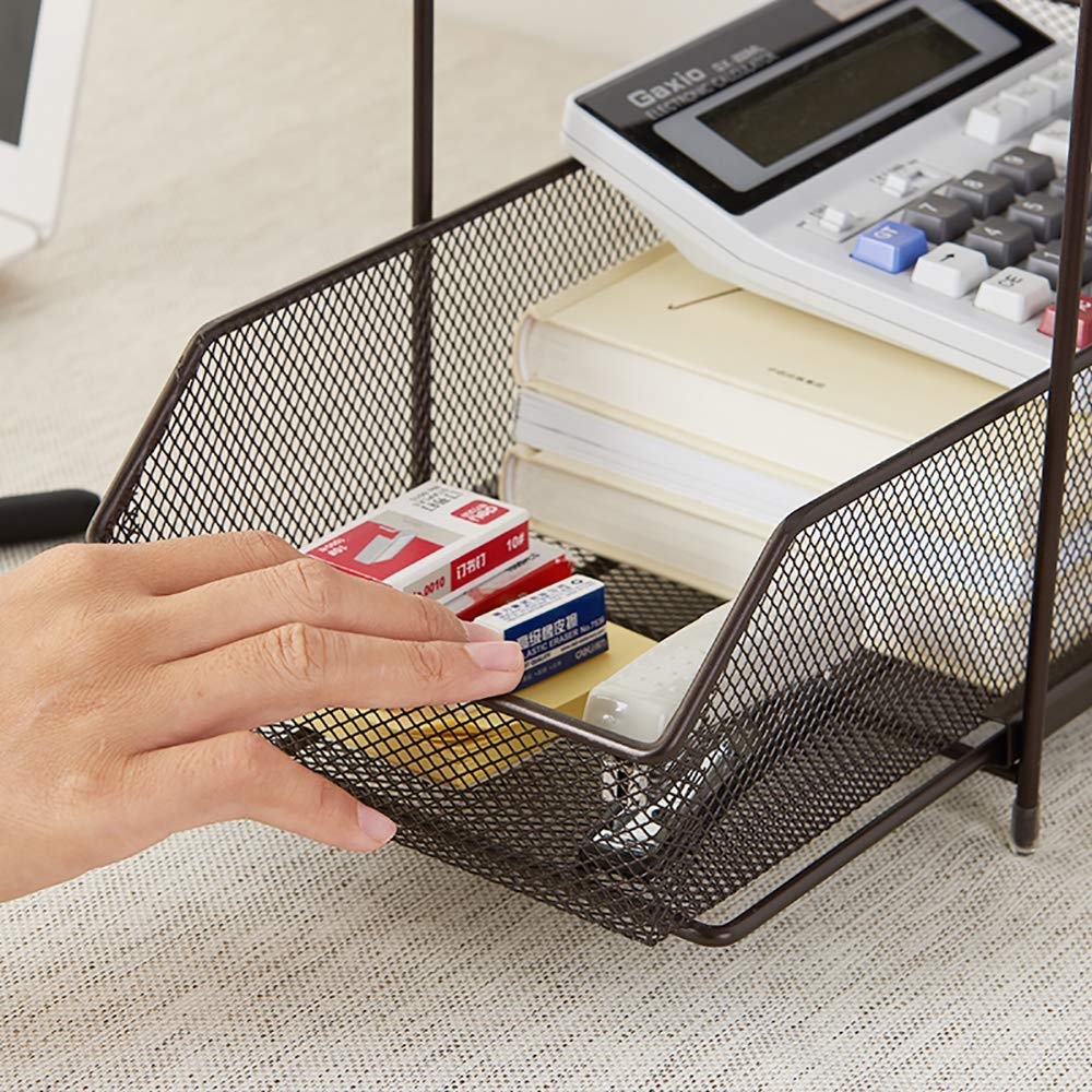 2 Tier Sliding Basket-Brown SINGAYE 2 Tier Mesh Sliding Cabinet Organizer with Pull Out Drawers