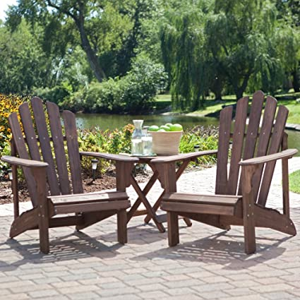 Coral Coast Adirondack Chair Set with FREE Side Table - Dark & Amazon.com : Coral Coast Adirondack Chair Set with FREE Side Table ...