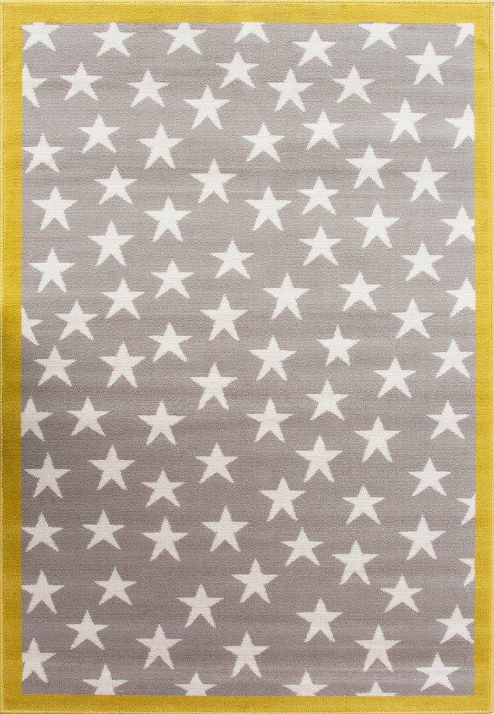 The Rug House Colorida Alfombra 100 Estrellas para Ni/ños en Gris Ocre Dise/ñada para /áreas de Juegos 80cm x 150cm