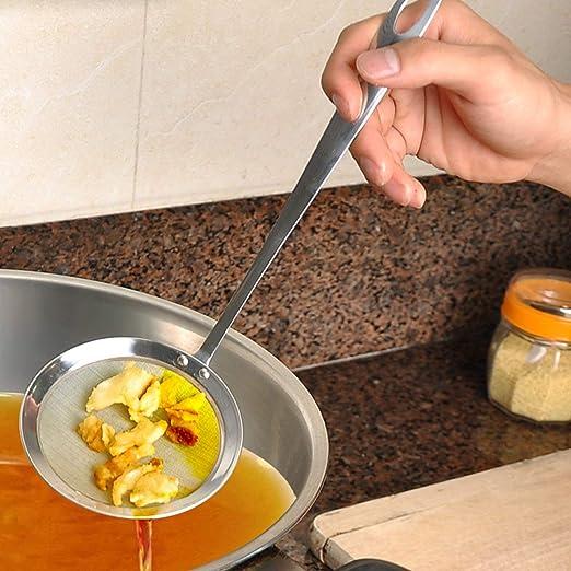 CamKpell Pratique Multifonctionnel en Acier Inoxydable Cuisine Maille passoire Scoop passoire Soupe /écumoire Scoop passoire Accessoires de Cuisine Argent