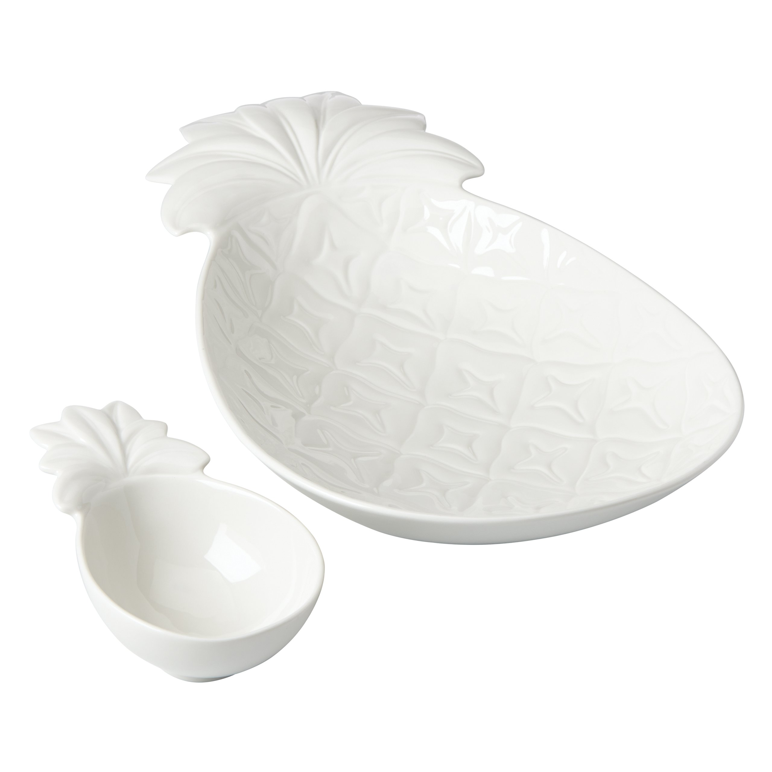 Lenox British Colonial Carved Pineapple Chip and Dip Serving Set, White