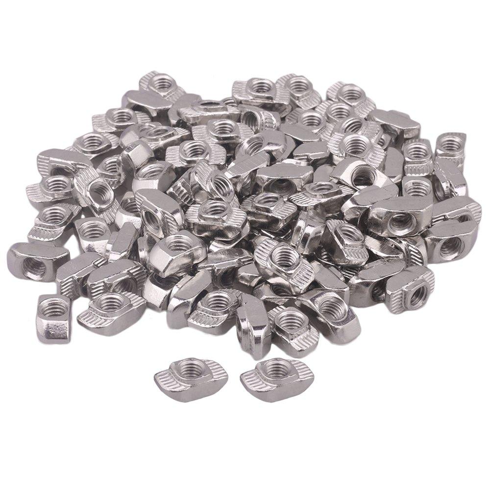 100 piezas de plata T deslizante tuerca bloque con M6/M5/M4 rosca para 30 Serie Europea está ndar aluminio ranura zijia