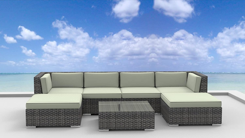 image modern wicker patio furniture. Amazon.com : UrbanFurnishing.net GC-STMJ-WKRP 7 Piece Modern Patio Furniture Sofa Sectional Couch Set Outdoor And Sets Garden \u0026 Image Wicker A