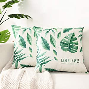 Kerothen Leaf Throw Pillow Covers - Decorative Tropical Green Leaf Pattern Throw Pillows Covers Cozy Farmhouse Couch Outdoor Palm Banana Tree Leaf 18x18 Cushion Cover Throw Pillow Cases 2 Pack