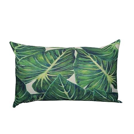 Fossrn Fundas de Cojines Almohada Tropical Hojas Funda de Cojines para Sofa Jardin Cama Decorativo - 30x50 cm (D)