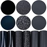 6 Pieces/Set 8x12 Inch (21cm x 30cm) A4 Bundle Leather Sheets Mixed Black Series Holographic Sparkle Fine Chunky Glitter…