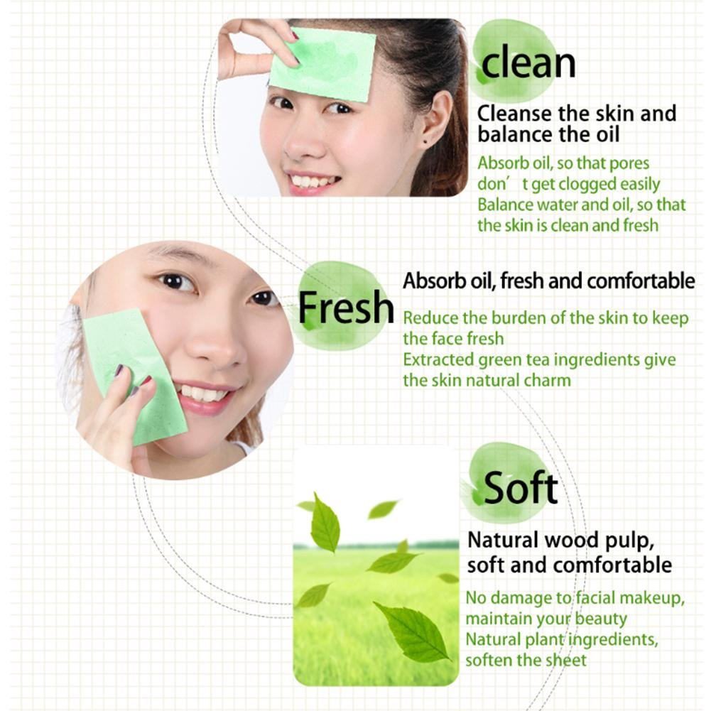 Oil Absorbing Sheets by Clean Clear for Unisex Lady xxl-cosmetic facial Oil Blotting Paper Sheets 100 piezas/paquete, aroma té verde ölabsorbierende cara ...