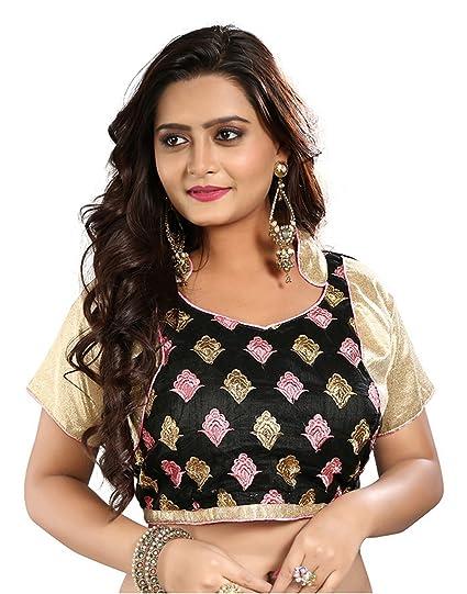 f07c5022834bb Heavy Saree Blouse Designer Dupion Silk Black Embroidered Thread Work Women  Ethnic Wear Readymade Stitched Blouse