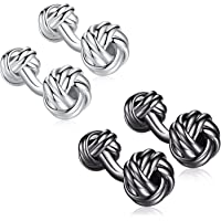 HONEY BEAR Knot Cufflinks for Mens Shirt,Stainless Steel for Business Wedding Gift
