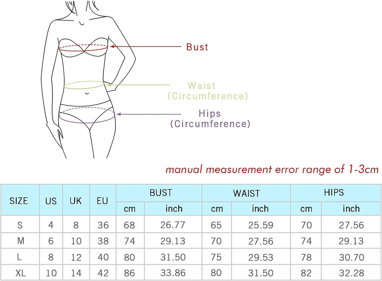 TSWRK Bikini para Mujer Conjunto Traje de Ba/ño de Dos Piezas Traje de Ba/ño de Un Hombro Traje de Ba/ño Dulce Color S/ólido Traje de Ba/ño Bandeau Traje de Ba/ño