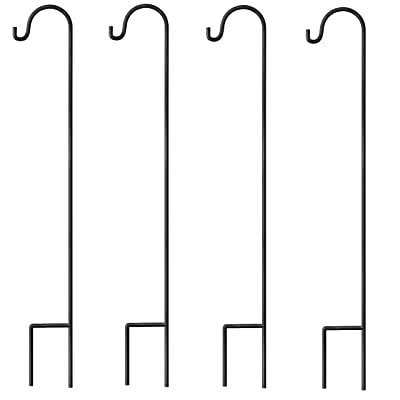 GrayBunny Shepherd Hook, 35 inch Black, Set of 4 Solid (Non-Hollow) Single Piece (No Assembly), Strong Rust Resistant Premium Metal Hanger For Weddings Plant Baskets Solar Lights Lanterns & Mason Jars : Garden & Outdoor