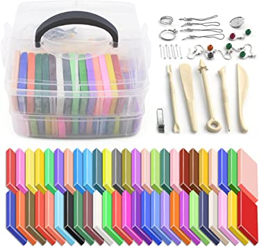 50 Blocks Polymer Clay Set w//S Colorful DIY Soft Craft Oven Bake Modelling Kit