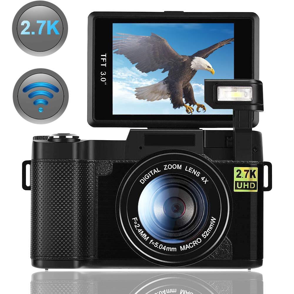 Digital Camera,Vlogging Camera for Youtube 2.7K 24.0MP Ultra HD WiFi Camera 3.0 Inch 180 Degree Rotation Flip Screen Retractable Flashlight by SUNLEA