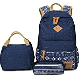 e51ec1df4ed HITOP Geometry Polka Dots Casual Canvas Backpack + Lunch Bags + Pen Case  Bags Set