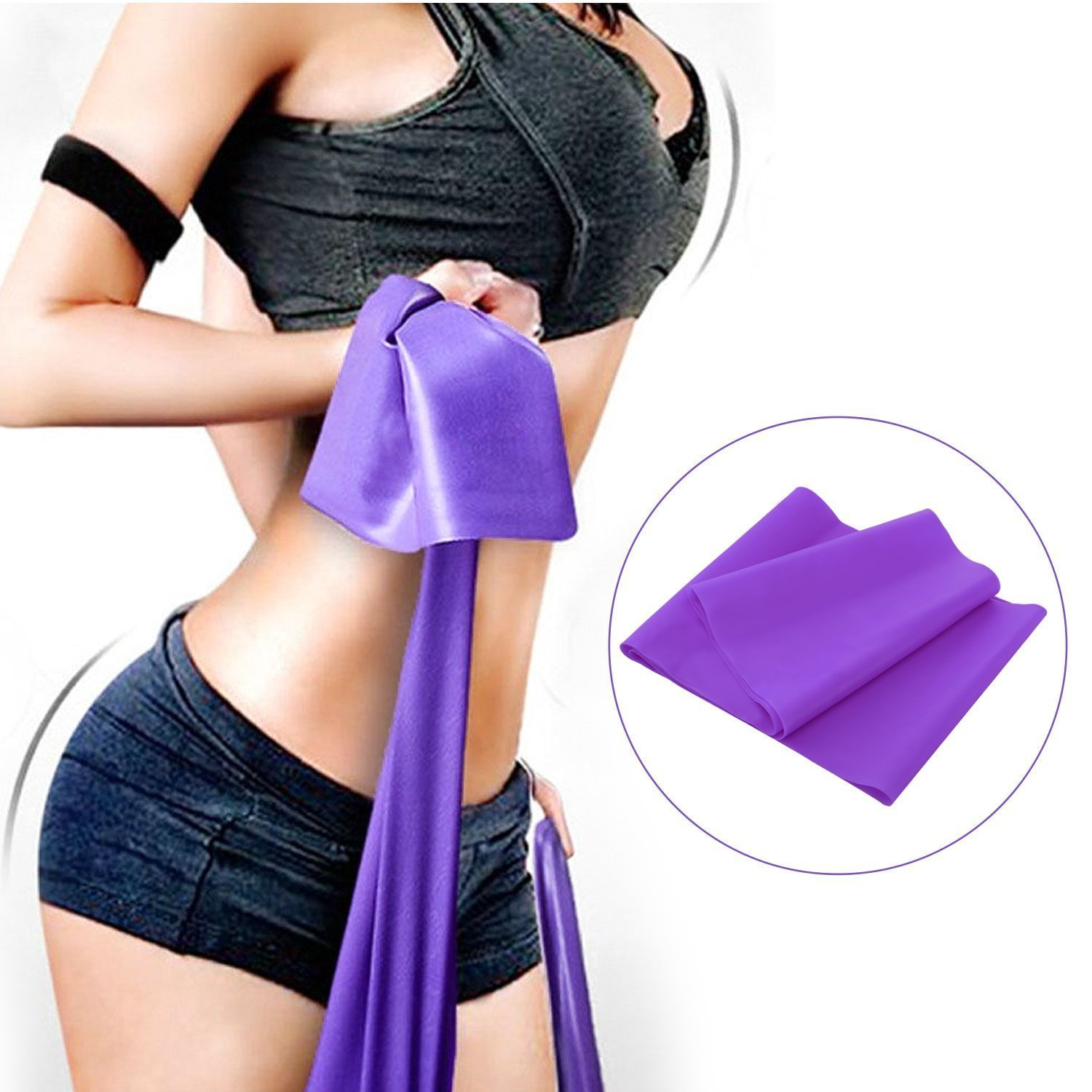 Blue, Green, Purple WERCOMIN 3 Packs Exercise Bands Long Resistance Bands Fitness Elastic Bands Yoga Straps for Physical Therapy Stretch Strength Training