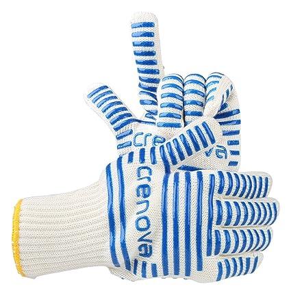 Crenova® 2x guantes guantes de cocina guante resistente al calor de barbacoa con protección contra ...