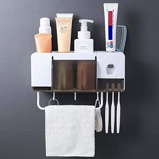 Bathroom Storage Rack Wall Mounted Shaver Holder Organizer 4 Hanger Hooks Towel