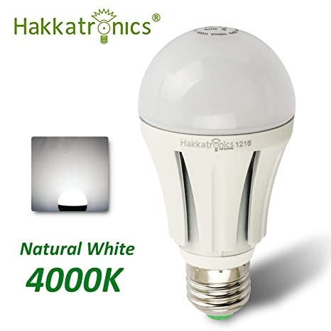 Hakkatronics bombilla LED, casquillo E27, 12 W Watts, blanco neutro 4000 K,