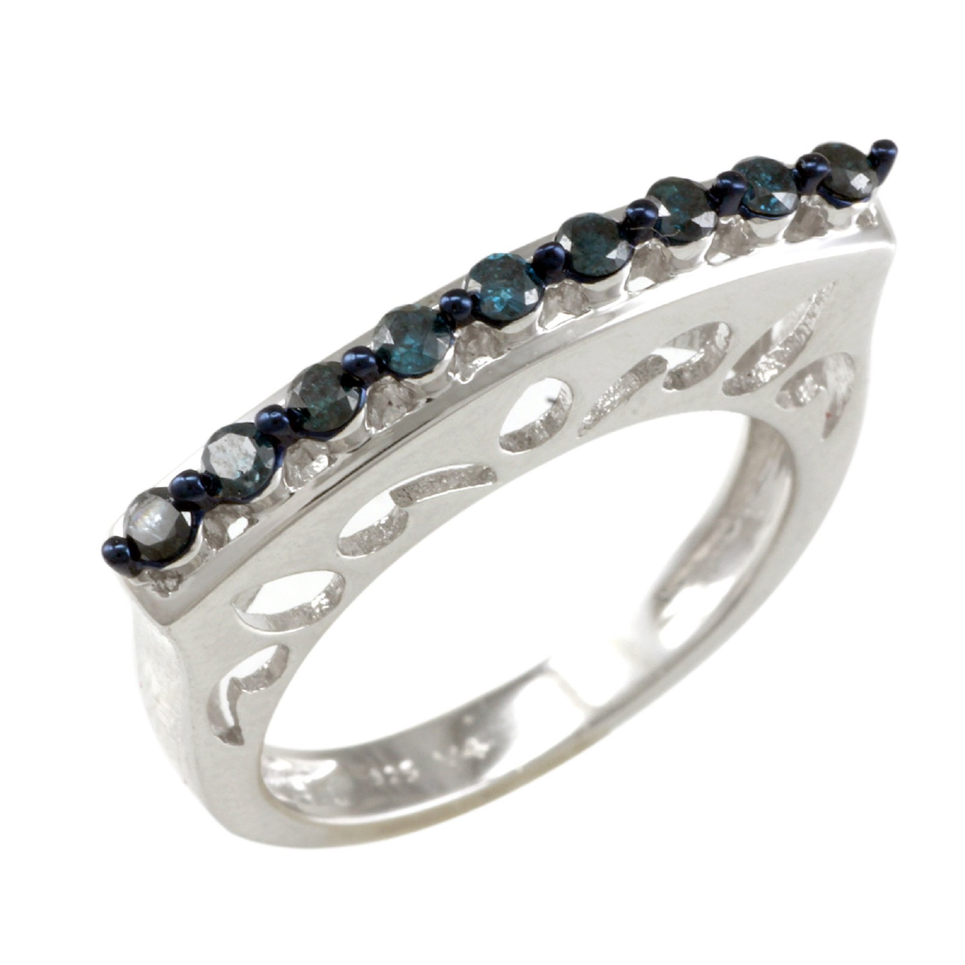Sterling Silver 0.29ct TDW Blue Diamond Curve Top Band Ring