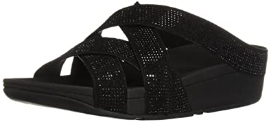 36cb3c0f291d FitFlop Women s Slinky Rokkit Criss-Cross Slide Sandal Black 7 ...