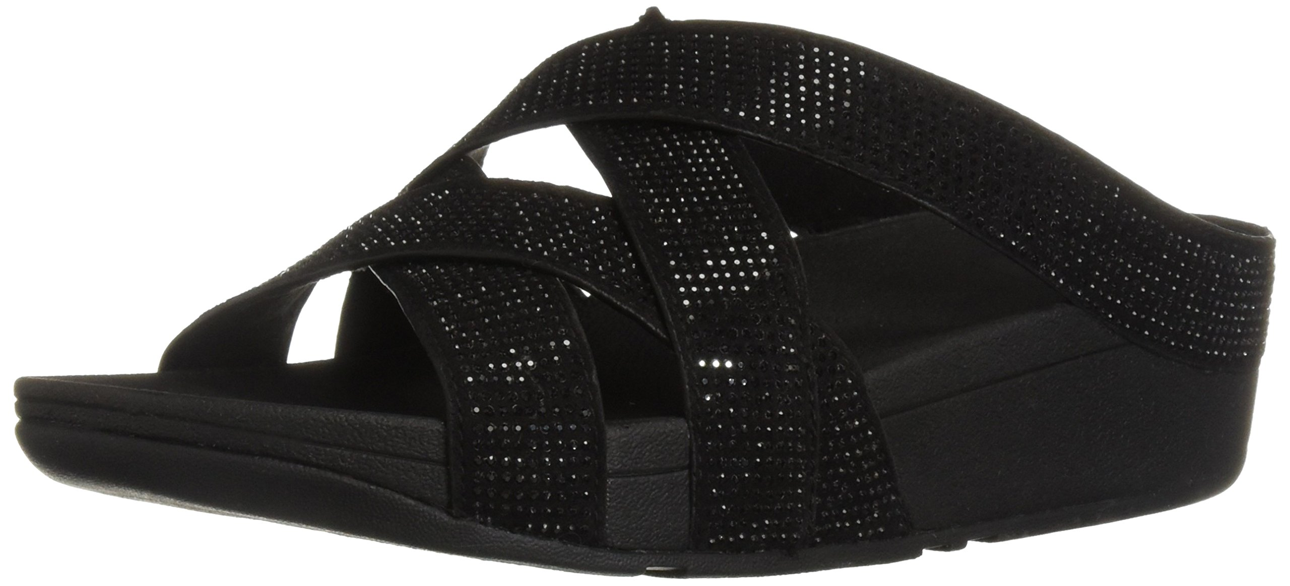 FitFlop Women's Slinky Rokkit Criss-Cross Slide Sandal, Black, 8 M US