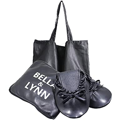 Foldable Ballet Flats - Women's Portable Flexable Ballet Flat Shoes with Carrying Tote Bag (L, Black) | Flats