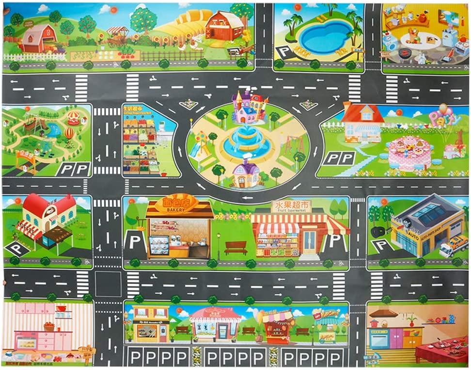 Toy Plastic Rug,Splat Mat Children Educational Road Traffic Play Mat Learning Carpets Washable for Floor Or Table,Kids Carpet PVC City Life Great for Playing with Cars and Toys .Baby