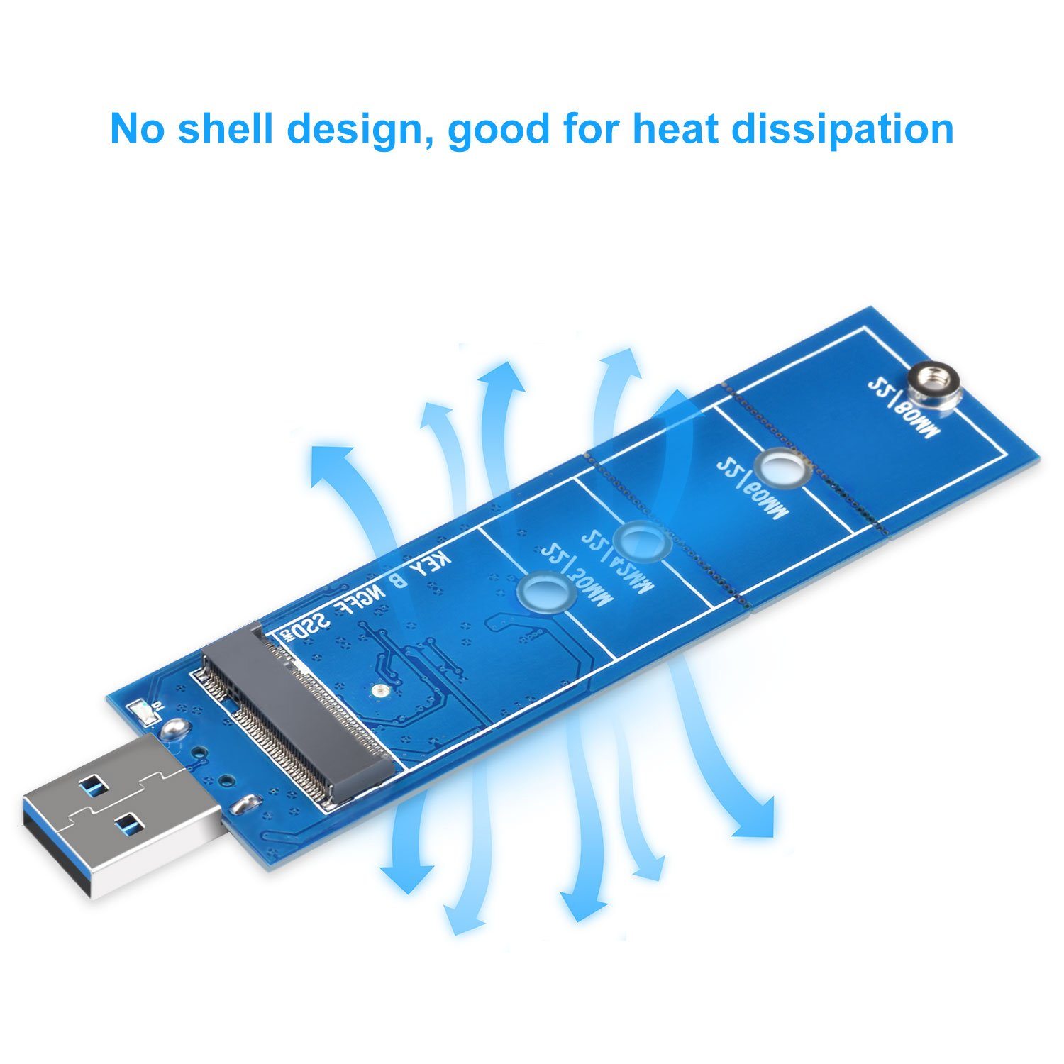 M2 SSD Enclosure Compatible for SATA B /& B+M Key NGFF USB Coverter Card 5Gbps Support 2230 2242 2260 2280 NGFF SSD(NOT for NVME ELUTENG M.2 SSD to USB 3.0 Adapter
