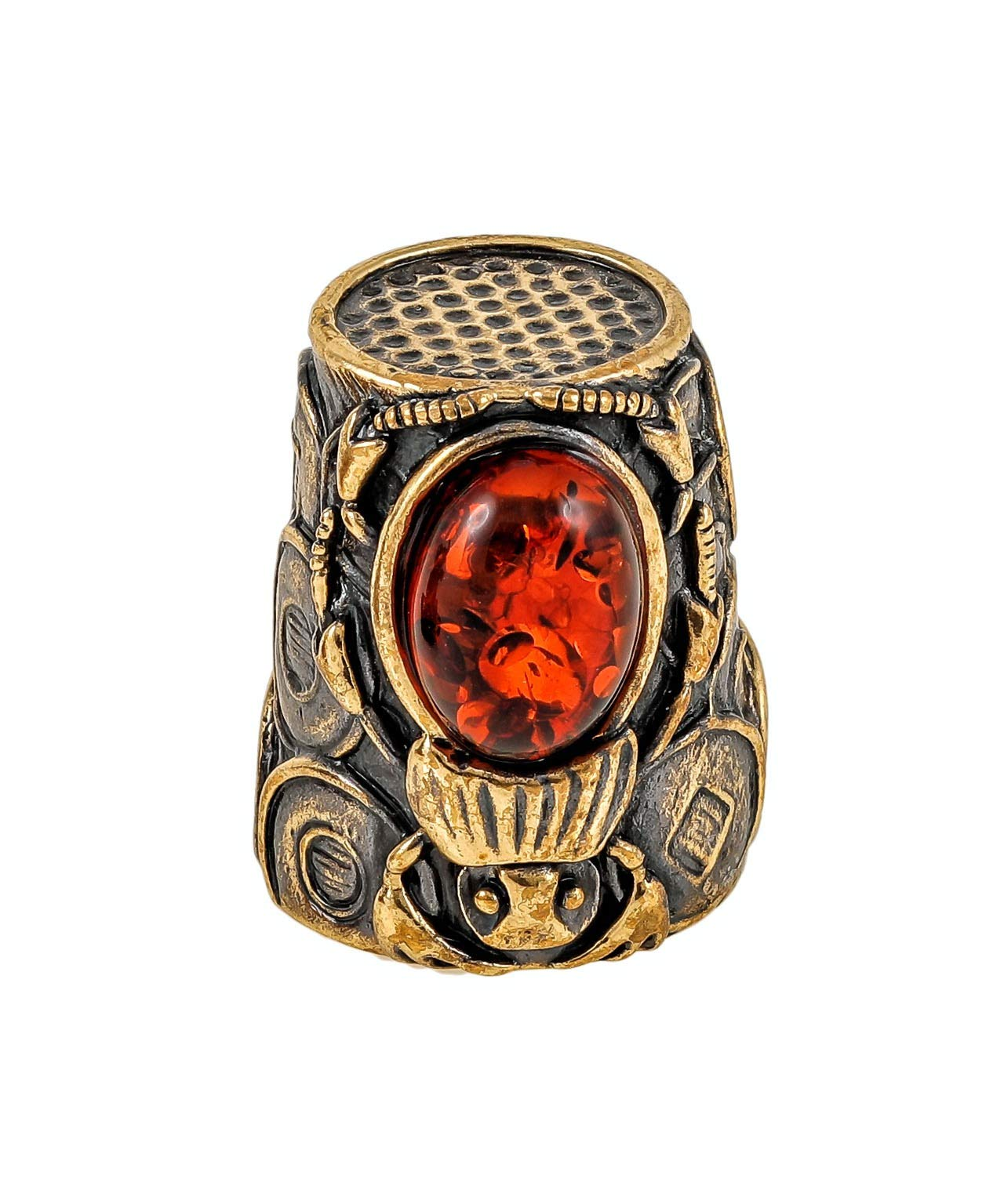 Amber and Brass Collectible Thimble (Egyptian Beetle) Decorative Souvenir Thimbles. Antique Designs from Kaliningrad, Russia.Packed in a Beautiful Siberian Birch Bark Gift Box(Random Selection) by Brass and Amber Art