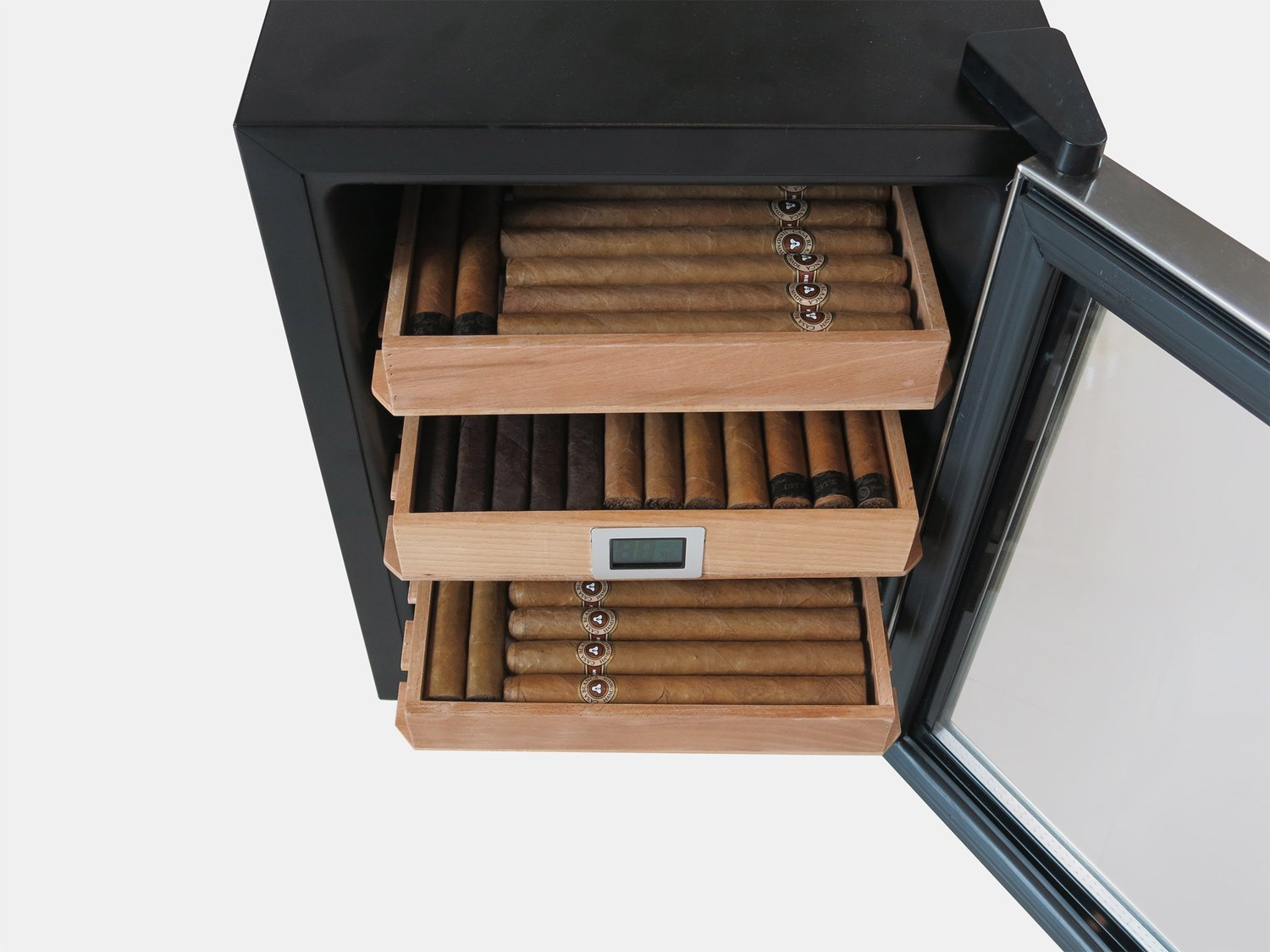 The Clevelander Thermoelectric Cigar Humidor Cooler - Color: Black w/ Stainless Steel Door by Prestige Import Group