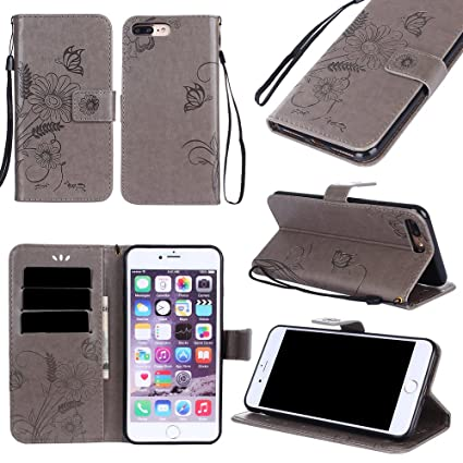 sneakers for cheap 29785 45d97 Black Sale Friday Deals Cyber Deals Monday-iPhone 8Plus/iPhone 7 Plus  Wallet Case Cover-PU Leather Embossed Flowers Butterfly Ant Card Holders  Stand ...