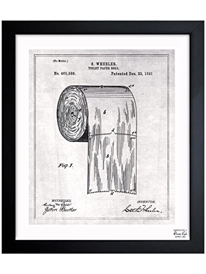 Amazon the oliver gal artist co toilet paper roll 1891 toilet paper roll 1891 vintage framed wall art malvernweather Images