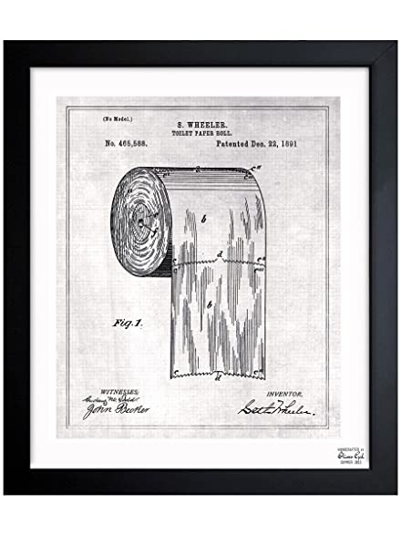 Amazon toilet paper roll 1891 vintage framed wall art print toilet paper roll 1891 vintage framed wall art print for home decor office malvernweather Image collections