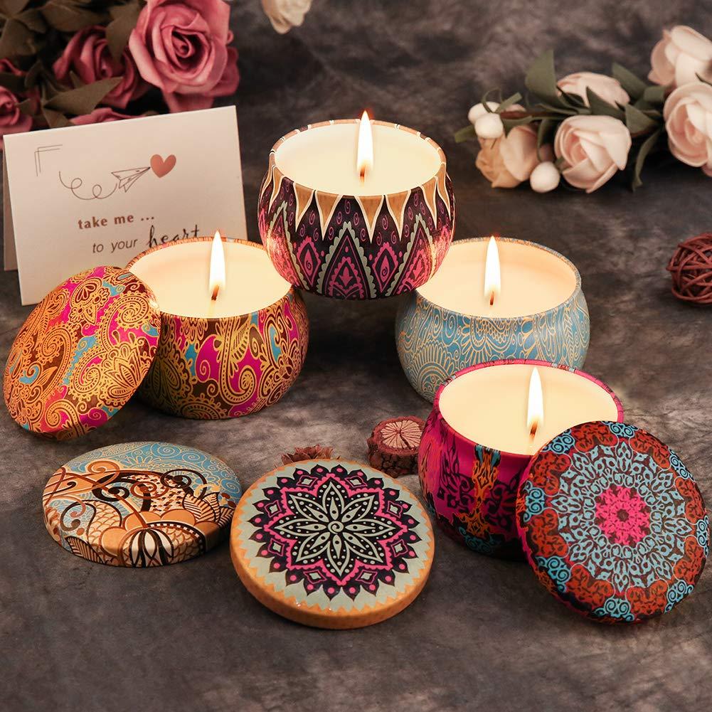 ARINO Lot de 4 Bougie Parfumées Romantique - Lavande, Rose,Citron,Figue Méditerranéenne, Bougie Cire pour Détente et Aromathérapie