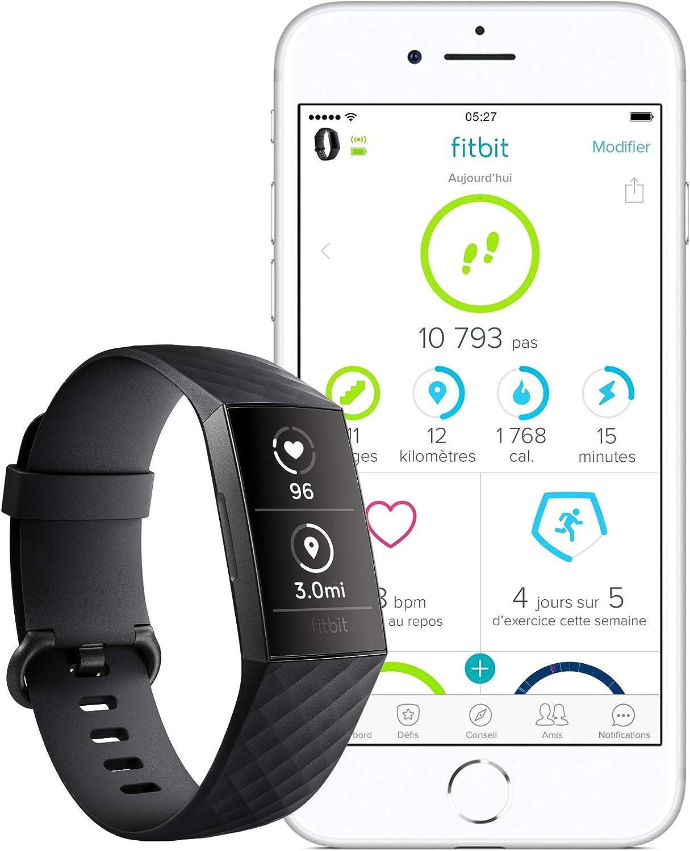 Bracelet d/'activit/é Forme et Sport : Jusqu/'/à 7 Jours d/'autonomie et /Étanche Aluminium Graphite // Blanc Charge 3 Fitbit