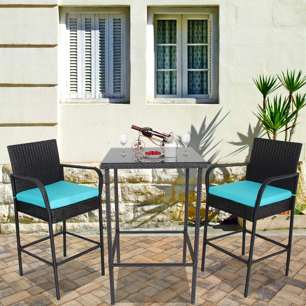 Leaptime Patio Rattan Bar Table and Stools Set Outdoor Garden Wicker Bar Set Easy Assembly-Black Rattan Turquoise Cushion