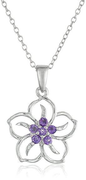 sterling on lotus silver necklace in inch flower dp com amazon chain