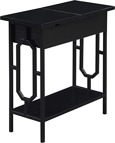 Convenience Concepts Omega Flip Top End Table with Charging Station, Black Black