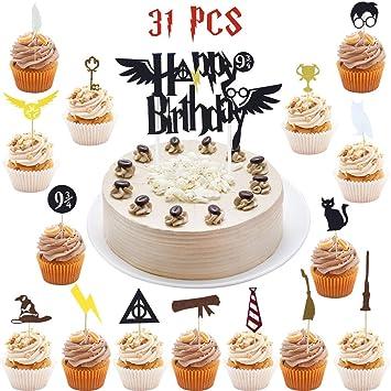Wuree 31 Pcs Harry Potter Inspiré Cake Topper Ensembles Felt Cake