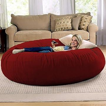 Jaxx 6 Foot Cocoon - Large Bean Bag Chair for Adults, Cinnabar